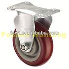 Medium Duty Fixed PU push cart caster wheels For Furniture, Hardware, Trolley