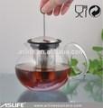 agradable de alta calidad resistente al calor de vidrio borosilicato tetera infusor con juego de té olla