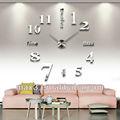 gümüş renkli geniş ayna duvar saati lüks ev dekor duvar saatleri