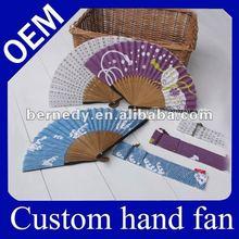 Hot!!! Popular Promotional Personalized hand fan, gift fancy bamboo hand fans, Craft held fan