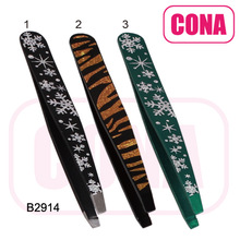 Christmas snow flower printing slanted tip eyebrow tweezers