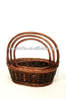 wholesale oval brown willow basket with handle