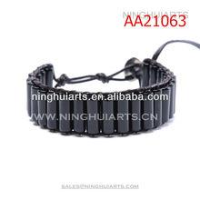 2014 natural black agate single wrap for men China Manufacturer bracelet