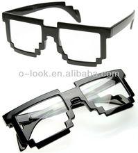 Pixelated 8-Bit Clear Lens Computer Nerd Geek Gamer Glasses