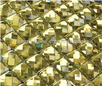 Tea Brown 13 Facet Gold Beveled Glass Mirror Tile Adhesive Mirror Tiles Mosaic Mirror