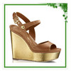 2015 High Heel Wedge Golden Ladies Hot Sale Fashion Shoes Design
