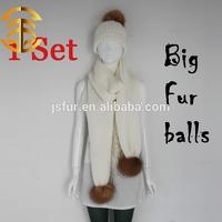 2015 Handmade Wool Knit Beanie Scarves Sets Heavy Knit Fur Hat Scarf Set