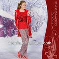 el más reciente 2014 de invierno suave y esponjosa 3 piezas pijama conjunto de los animales impreso al por mayor de china