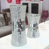 Handicraft Silver Decorative Cheap Mirror Flower Glass Mosaic Vases