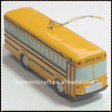 Custom make polyresin bus ornament hanging christmas ornament