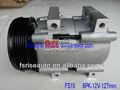 Fs10 ar um/c para ford ritmo 6pk 128mm 12v auto ar condicionado do carro copmpressor para fs-10 hotsale ascensão- 059