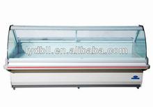 Curved Glass Freezer, deli food showcase
