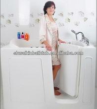 Square walk in bathtub elder bath tub with inward opening door CWT2852W