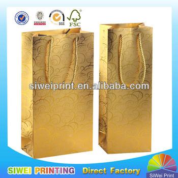 Promotional Black Paper Wine Bag/Gift wine Bag for wine