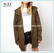 Dropped shoulders fashionable breathable women coat hooded neckline drawstring waist zip cotton oversized Parka coat