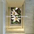 Jy-jh-bh01-a el vestíbulo del hotel backspalsh decoración de vidrio handcut azulejos de la pared flor de lirio de la imagen del mosaico