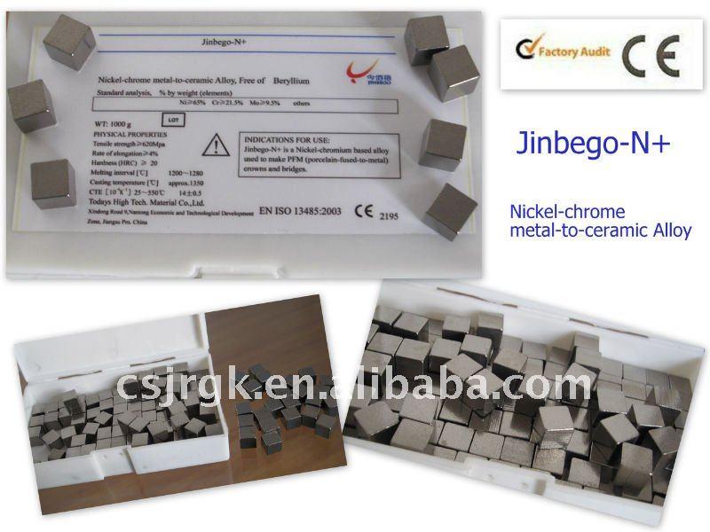 Dental de aleación de / níquel del metal del cromo - a - de la aleación de cerámica, De libre de berilio