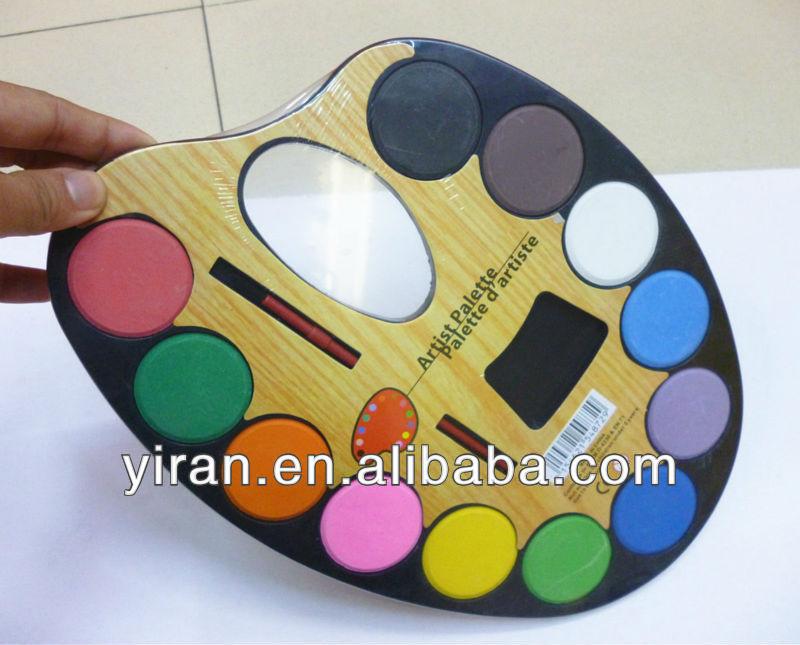 12 couleurs grande en plastique artiste Palette pour enfants avec de la peinture rouleau brosse
