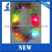 Flash flower necklace,Light-up flower lei,Hawaiian Silk Flower Leis with LED light for Celebration