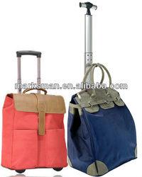 elegent nylon single trolley women trolley bag on wheels