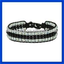 new 2014 Mens Black Leather Wrapped Bracelet&Black Pearl TPCL153#