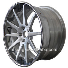 Chrome Outer,Brush Center 3 Piece Forged Wheel