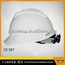 White Color V-guard Safety Helmets With Ratchet Hoop Customized Helmet Hard Hats