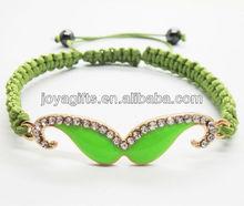 95B0224-4/ Enamel Diamante mustache woven bracelet/enamel beard woven bracelet/green enamel+grass green wire/cord