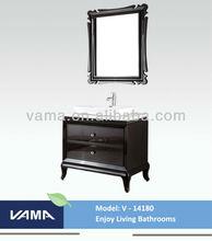 V-14180 natural solid wood wholesale bathroom vanities