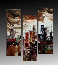 Modern Group Building Abstract Oil Painting