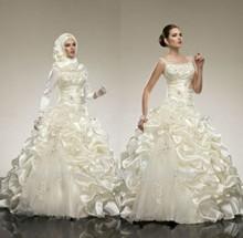 Latest Scoop Neckline Applique Beading A-Line Court Train 2014 Alibaba Muslim Wedding Gowns