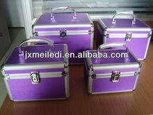 Fashion durable purple make up box &aluminium casewith velvet lining inside