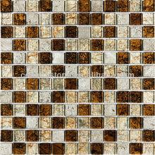 Kitchen Bathroom Coated Resin Stone Metallic Copper Rust Glass Mosaic Tile