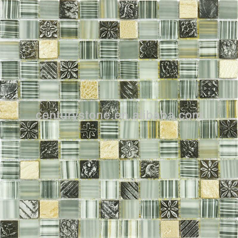 Baños Verde Con Beige:Itchen baño verde negro blanco oro rayas de color Beige azulejo de