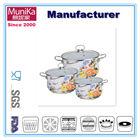 six-piece casserole pan set,6 pcs decal enamel pans sets with glass cover,Porcelain enamel milk pan soup pan cookware set