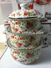6pcs ENAMEL WHITE CERAMIC COATED COOKWARE SETS CASSEROLE COLORFUL POTS,cast iron red flower cookware pots with enamel painted