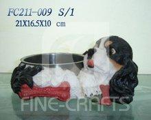 Resin dog sculpture pet feeder bowl & Water feeder