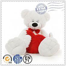 Custom stuffed red bear plush toy, wholesale cute embroidered bear plush toy, teddy bear with red heart