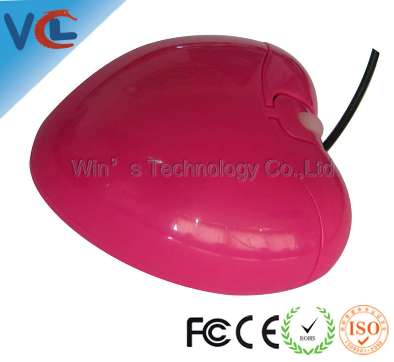 heart shape cheap optical computer 3D USB wired mouse