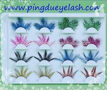 professional eyelash extension kit full hand made colorful feather eyelashes