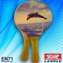 new wooden beach racket PVC transparent bag /beach paddle / wooden beach paddle photo printed beach ball racket