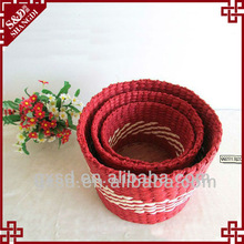 S&D paper material handmade eco-friendly solid wood plank red basket