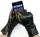Men's touch screen iphone leather glove made with conductive hair sheep skin