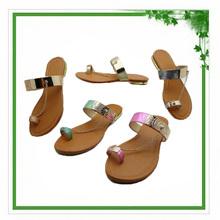 2014 Fancy Gold String Low Heel Summer Sandal Shoe Woman