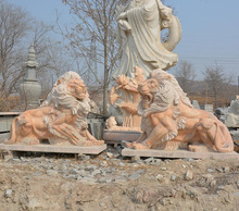 The large western style marble stone animal sculptures of lion ,Outdoor decoration stone animal carving