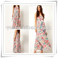 2013 Latest Designer Floral Print Exclusive long Maternity Dress,Maternity Clothing