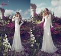 Lwd-002 2014 julie vino vestidos de noiva v- pescoço sexy manga longa branco laço vestido de noiva vestidos de noiva