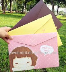 Colorful Paper file pocket/document bag wholesale