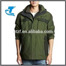 2014 Windbreaker Hooded Green 3 in 1 Men Jacket