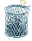 Round Metal Mesh Clip Holder Desk Organizer Stationery Box